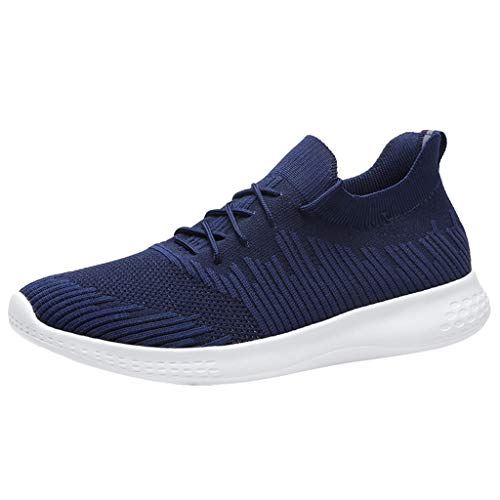 YKARITIANNA Men Large Size Breathable Woven Lightweight Sneakers Low-Top Casual Socks Shoes 2019 Summer New Blue -