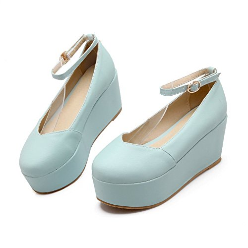 AllhqFashion Womens Buckle Round Closed Toe High Heels PU Solid Pumps-Shoes Blue 7U9zsSni