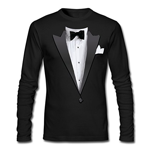 Spreadshirt Tuxedo Jacket Costume Bow Tie Men's Long Sleeve T-Shirt by Next Level, M, Black