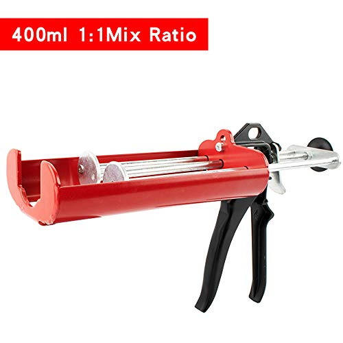 Manual Epoxy Applicator Gun 400 mL/13.5 fl oz (1:1 Mix Ratio) Dual Component Adhesive Cartridge Applicator Double Caulk Gun 2 Part Caulking Gun, 26:1 High Thrust Ratio (Passion Red)