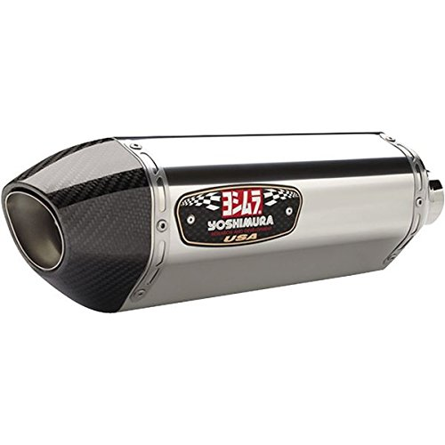 Yoshimura 13-18 Kawasaki ZX636 R-77 Slip-On Exhaust (Street/Stainless Steel with Carbon Fiber End Cap)