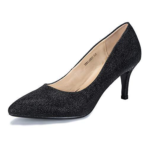 Glitter Classic Pumps - IDIFU Women's IN3 Classic Slip On Pointed Toe Mid Heel Dress Pump (Black Glitter, 9.5 B(M) US)