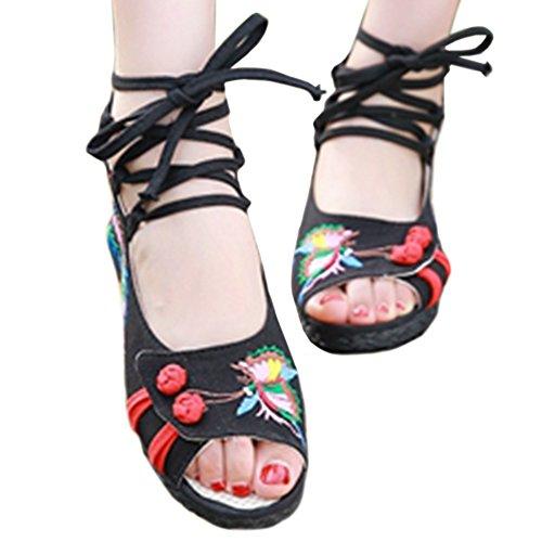 de y Elegantes Negro Phoenix Mariposa Bordados Bonitos Zapatos y U5qYwI