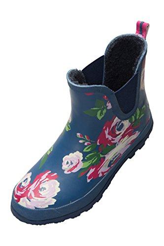Warehouse Winter Fantaisie Bottes Bleu de Ankle Basses Marine Mountain Pluie Femme Fleurs d8p48Ua