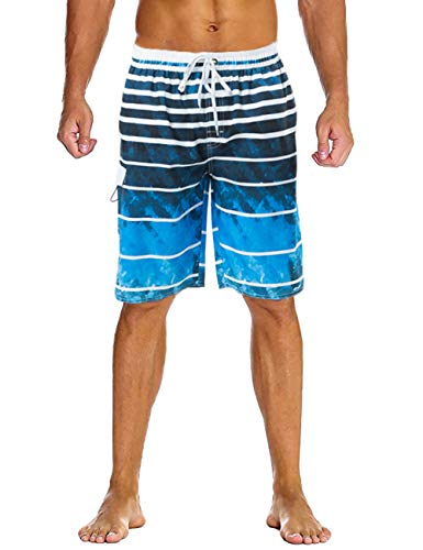 Lncropo Swimming Trunks for Men Quick Dry Striped Men's Boys Swim Trunks Beach Board Shorts with Mesh ()