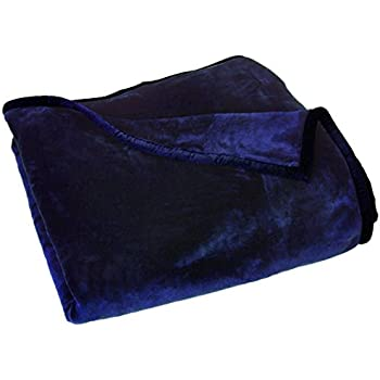 Chezmoi Collection Heavy Thick One Ply Korean Style Faux Mink Blanket 8-Pound Oversized Queen 90x92 (Queen, Navy)