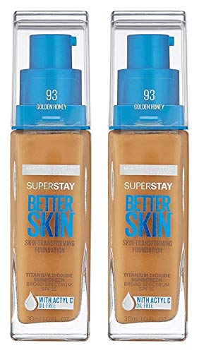Maybelline Sunscreen - SuperStay Better Skin Foundation 93 Golden Honey (Pack of 2) Oil-Free, Skin Transforming Foundation, Helps Achieve Better Looking Skin in 3 Weeks, Fade-Proof Formula Won't Transfer
