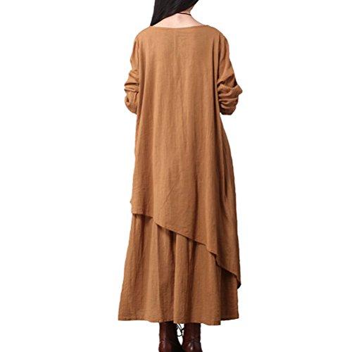 Cotton Aeneontrue Orange Irregular Hem Long Women's Sleeve Linen Dress Solid Layered wBrq7YBU
