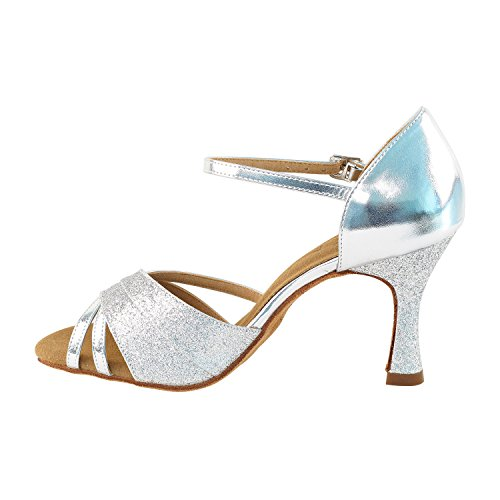 Women Stardust Tango Latin Latin Shoes Swing Dress Pigeon amp;Silver Party Party Wedding Ballroom Salsa Swing silver Salsa Shoes Pump Dance High Heel Shoes Comfort Gold Medium Evening SERA3830 Tango Leather 6030 gPfqR4R