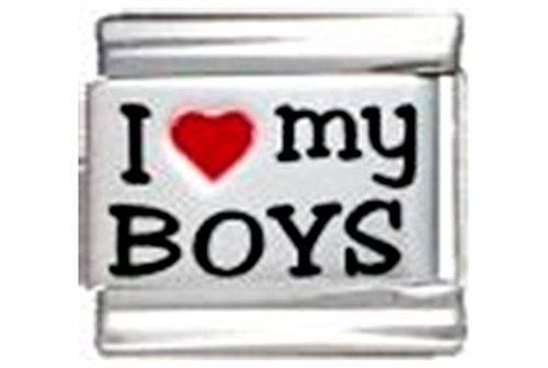 Stylysh Charms Boys I Love My Boys RH Laser Italian 9mm Link FA009 -