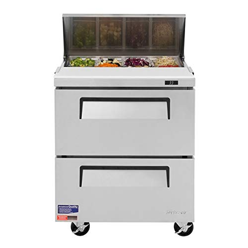 (7cf Sandwich Prep Salad Cooler with Two Drawers 8 Pans)