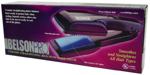 - Belson Pro Ceramic Straightening Iron with Guide Teeth #2550c by Belson