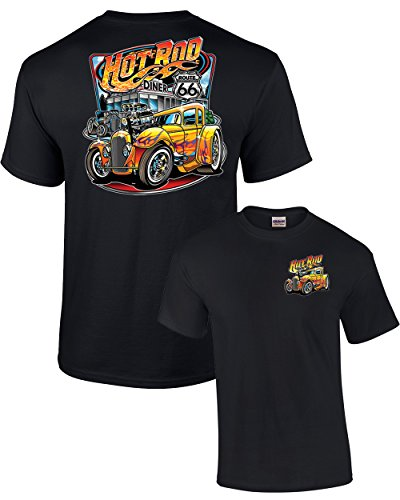 Hot Rod Diner Muscle Car Adult T-Shirt-Black-XXL