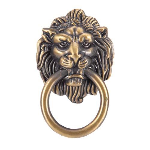 Small Lion Head Brass Knob (1Pcs Antique Brass Golden Vintage Bronze Metal Lion Head Furniture Door Cabinet Dresser Drawer Pull Handle Knob Ring)