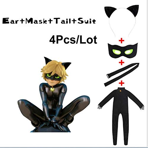 Kid's Miraculous Ladybug Cat Noir Cosplay Jumpsuit Boy's Girls Costume (S-100-110CM, Black) ()