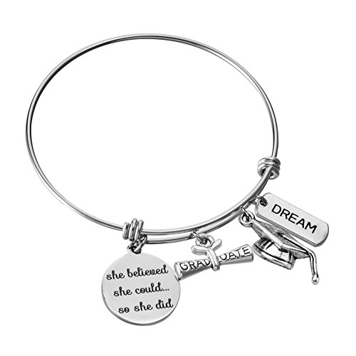 - Miss Pink Class of 2019 Graduation Gifts Stainless Steel Expandable Wire Bangle Charm Bracelet Graduation Jewelry for Women