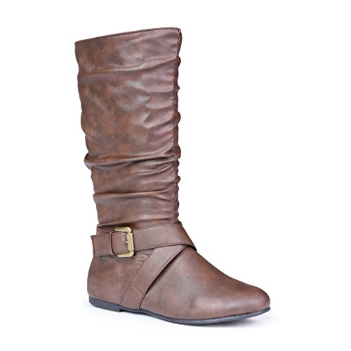 Twisted Women's Shelly Faux Leather Mid-Calf Scrunch Boot With Side Buckle - SHELLY140 Brown, Size 11 (Collar Scrunch)