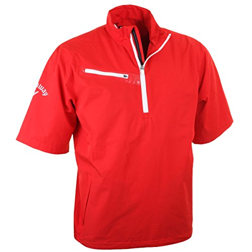 Callaway Golf Men's 1/4 Zip Gust 2.0 Short Sleeve Windshirt - M - Salsa