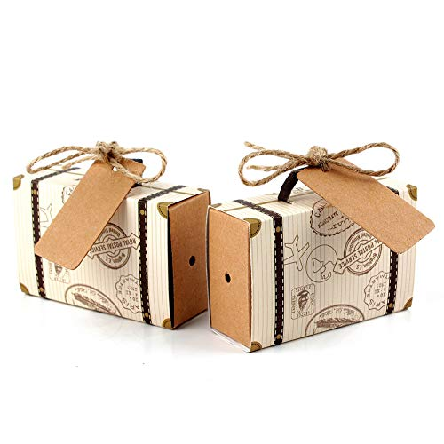 Hokic 50pcs Travel Suitcase Favor Boxes with Burlap Twine, Mini Vintage Kraft Candy Favor Boxes Gift Bags for Wedding Bridal Shower Travel Theme Party Supplies -