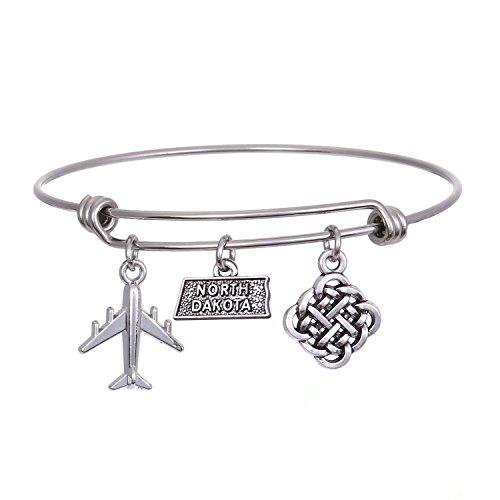 JJTZX State Bangle U.S. Map Charm Expandable Travel Bracelet Long Distance Relationship Gift Best Friends Bracelet (North Dakota)