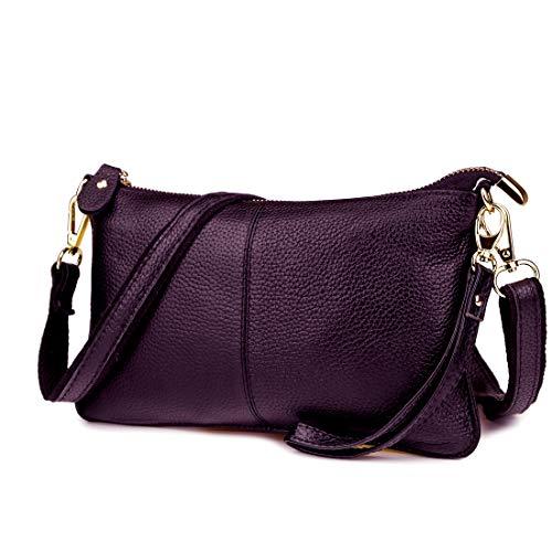 Artwell Women Genuine Leather Clutch Handbag Crossbody Shoulder/Wristlet Purse for Party Wedding Shopping (Purple)