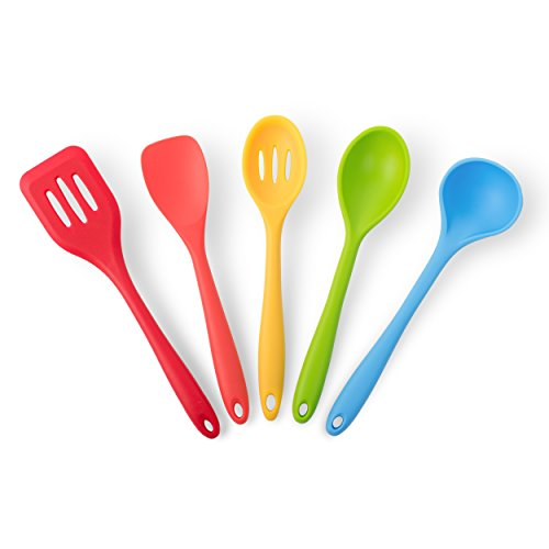 California Home Goods 5-Piece Silicone Cooking Set for Kitchen, Heat Resistant, Multi Colored