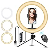 10� Selfie Ring Light with iPhone Tripod Stand & Cell Phone Holder for Live Stream/Makeup, Doosl Mini Led Camera Ringlight for YouTube Video/Photography Compatible with iPhone Xs Max XR Android