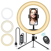 10″ Selfie Ring Light with iPhone Tripod Stand & Cell Phone Holder for Live Stream/Makeup, Doosl Mini Led Camera Ringlight for YouTube Video/Photography Compatible with iPhone Xs Max XR Android