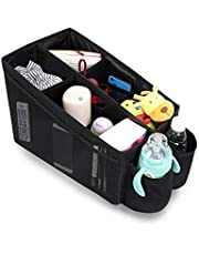 Meinkind Car Seat Organiser, Back Seat and Front Seat Car Storage Box Organiser with Seat Belt Attachment, Cup holders and Foldable Pockets - Water Resistant Car Backseat Organiser, Black
