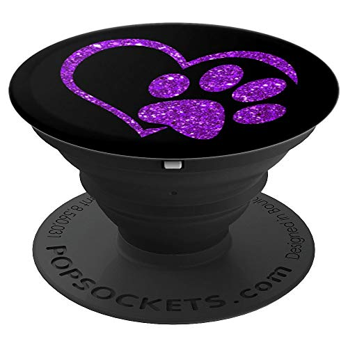 Purple, Paw Print Heart, Cat Paw, Dog Paw - PopSockets Grip and Stand for Phones and Tablets
