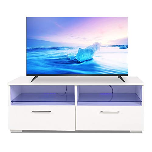 Cabinet Glass Modern (Alpha Conception LED TV Stand Modern TV Cabinet Console Furniture with 2 Glass Shelves 2 Drawers for up to 40-inch TV Screen White 100 35 45cm)