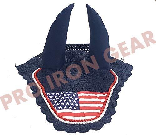 USA Flag Horse Ear Bonnet/Net/Hat/Hood/Mask Fly Veil Full/Cob (Full) by PRO IRON GEAR