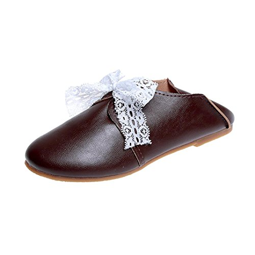 Sikye Women Comfort Leather Loafers,Womens Vintage Bow tie Soft Bottom Wild Lace-up Casual Shoes Coffee