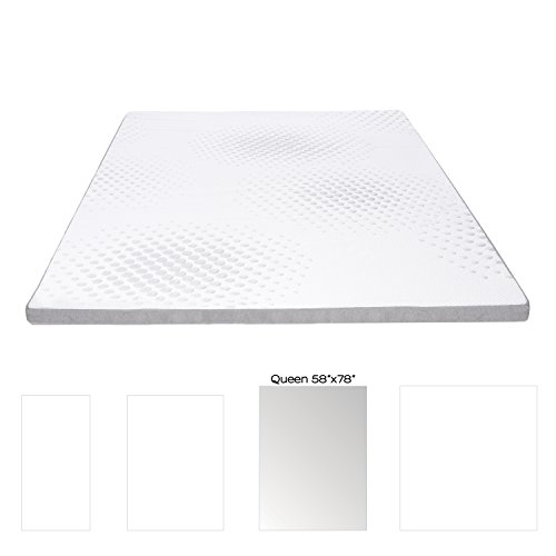 Milliard 2-Inch Gel Memory Foam Mattress Topper - Featuring a Removable and Washable Soft Bamboo Cover - Queen - (Green Memory Foam Toppers)