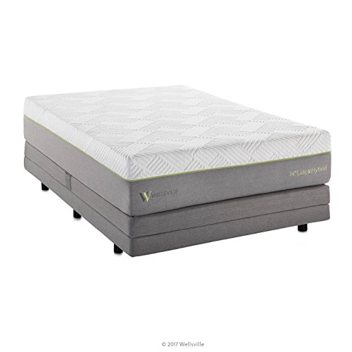 WELLSVILLE 14 Inch Memory Foam Latex and Innerspring Premium Hybrid Mattress, Queen