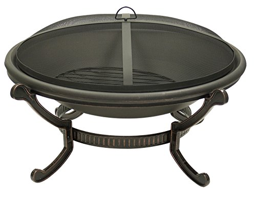 Large Round Cast Iron Bronze Fire Pit with Spark Guard Screen