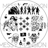 MESSY MANSION MM37 Nail Art Stamping Plate - Pirate Theme