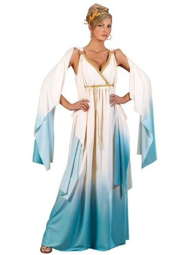 Halloween Greek Goddess Costume (Fun World Greek Goddess Costume, Crème/Light Blue, Small/Medium 2-8)