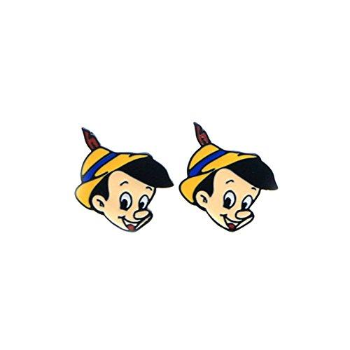 Pinocchio Earrings Post Studs Enamel Movie Fans Classic Cartoon -