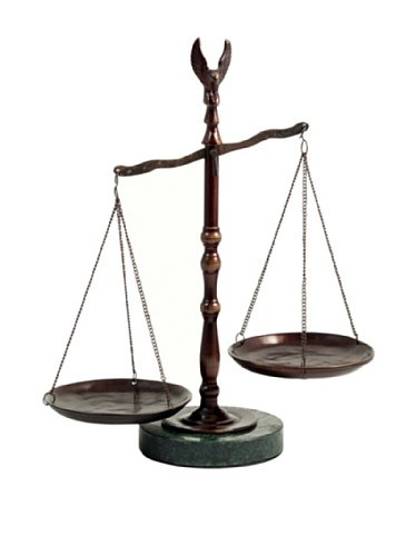 (Bronzed Legal Scales of Justice with Eagle Finial and Marble Base-12.5in.ht Great Lawyer Gift)