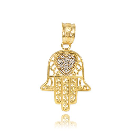 Middle Eastern Jewelry Solid 14k Yellow Gold Diamond-Accented Heart Filigree-Style Hamsa Charm Pendant