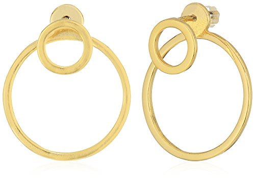 SHASHI Double Circle Small Yellow Gold Earring Jacket