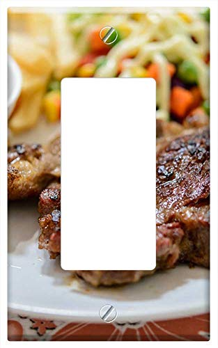 Switch Plate Single Rocker/GFCI - Steak Beef Plate Grilled Meat Food Dinner