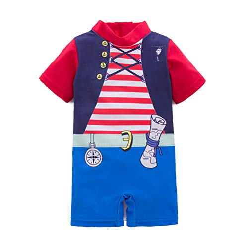 LXKIKMM May's Baby Handsome Boy Sailor Pirate One-Piece Swimsuit Beach Swimsuit Red ()