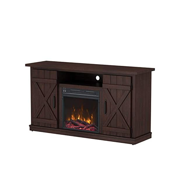 Simple Living Products Industrial TV Stand with Fireplace - Antique Rustic Look - Vintage Design (Espresso)