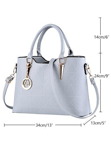 Tote lucida PU signore borsa nuove Leather tracolla Nero Menschwear Bag Grigio a SIt5x6