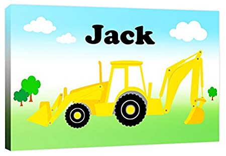 Personalised Digger Boys Name - Childrens Farm Vehicle Canvas Wall ...
