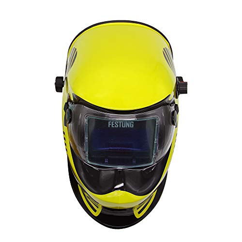 Pupzo Welding Helmet Solar Power Auto Darkening with 2 Arc Sensors & Two Shade Ranges 5-8/9-13 with Grinding Feature Extra lens covers Good for TIG MIG MMA Plasma (Batman)