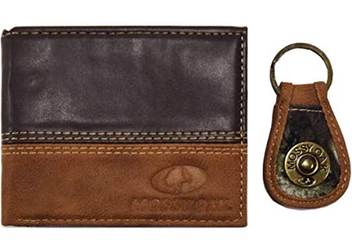 Mossy Oak Mens Bifold PU Leather Wallet Color Brown Tan with Mossy Oak Embossed Logo and a coordinating Engraved Hardware Key Fob Color Camo Tan by Aquarius -