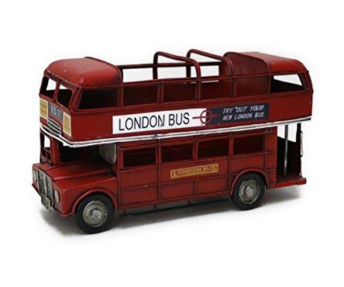 【Misty Wood 】 ブリキ ロンドンバス レッド おもちゃ ミニチュア 模型 アンティーク仕上げ コレクション☆